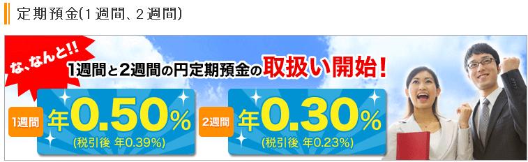 【1週間定期預金年0.50%】楽天銀行の口座開設するならここがお得!